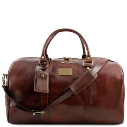 TL Voyager Travel leather duffle bag with pocket on the backside - Large size Brown TL141247