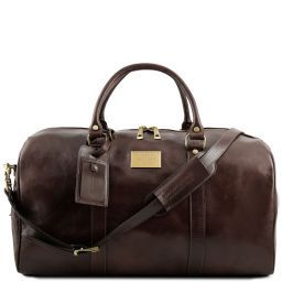 TL Voyager Travel leather duffle bag with pocket on the backside - Large size Dark Brown TL141247