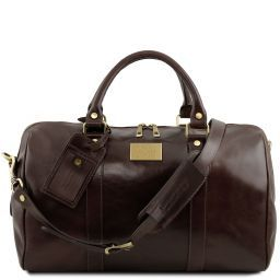 TL Voyager Travel leather duffle bag with pocket on the back side - Small size Dark Brown TL141250