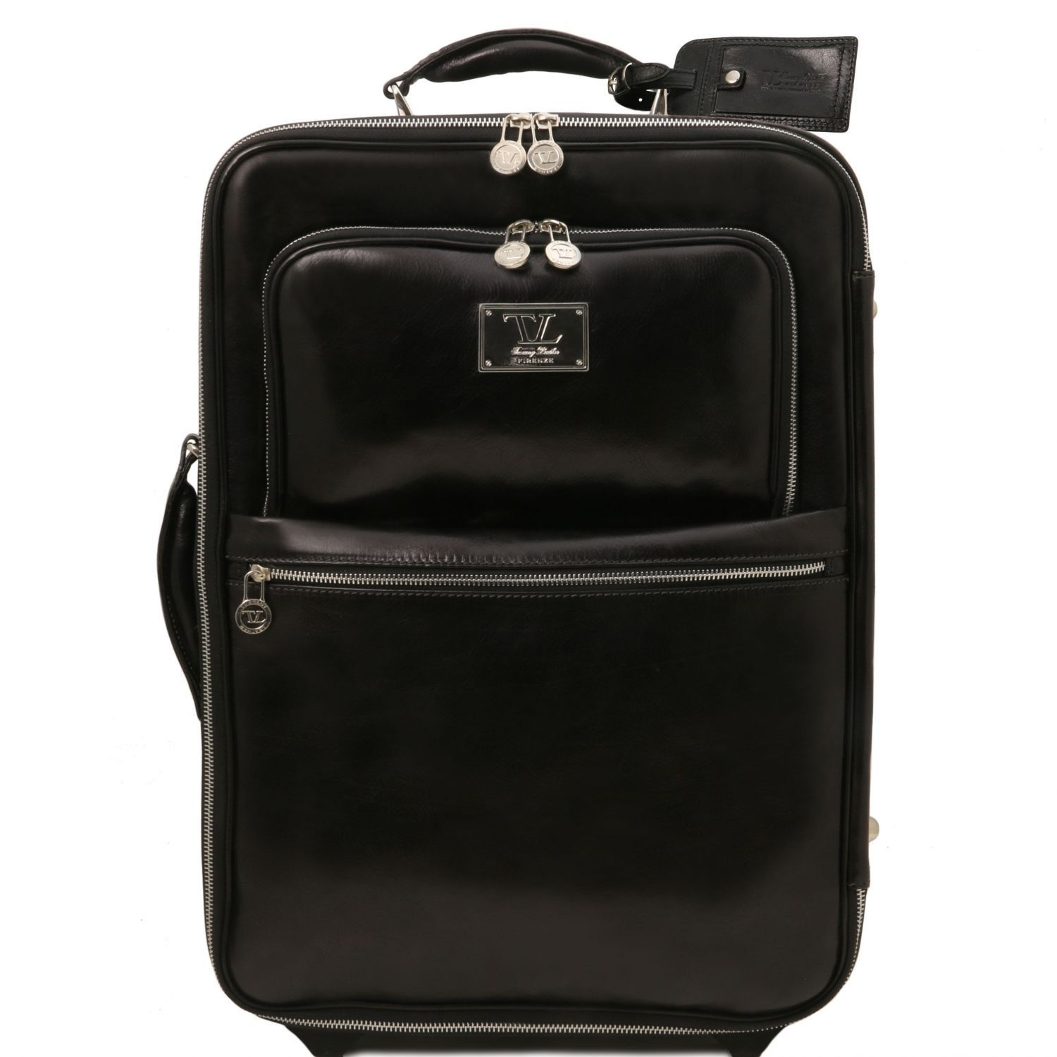 Bilde av 2 Wheels vertical Leather trolley Black