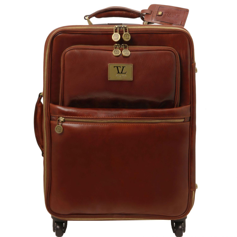 Bild av 4 Wheels vertical leather trolley Brown