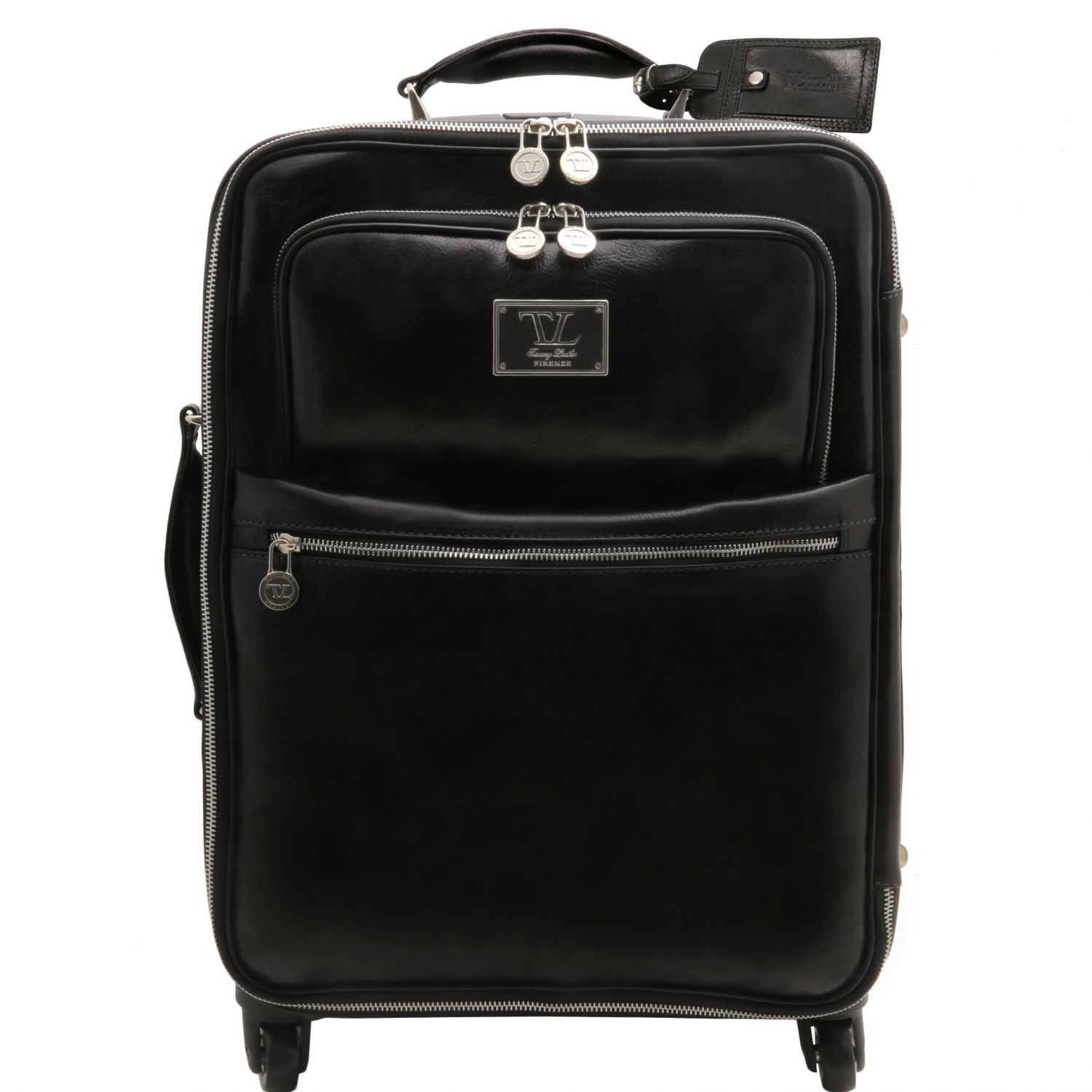 Abbildung von 4 Wheels vertical leather trolley Black