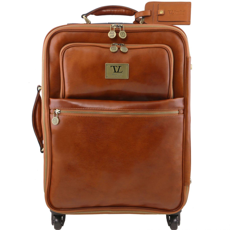 Bild av 4 Wheels vertical leather trolley Honey