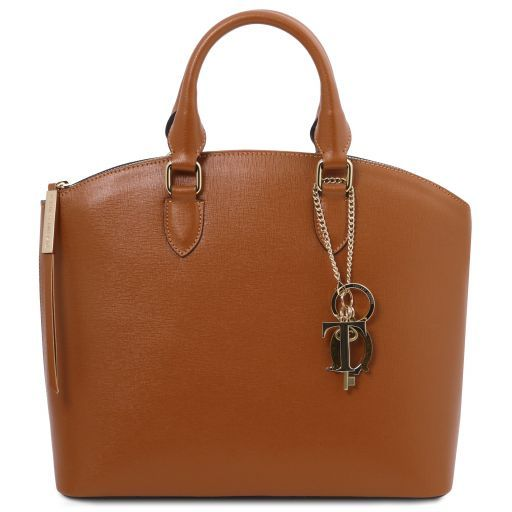 TL KeyLuck Borsa shopping in pelle Saffiano Cognac TL141261