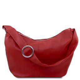 Yvette Beuteltasche aus weichem Leder Rot TL140900