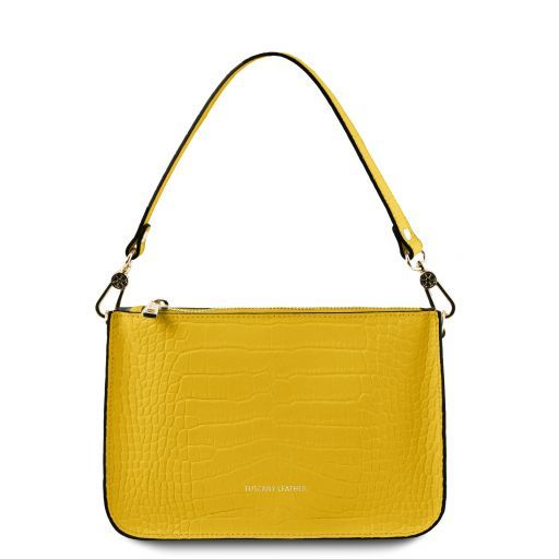 Cassandra Croc print leather clutch handbag Yellow TL141917