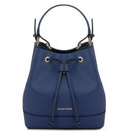 Minerva Borsa secchiello da donna in pelle Saffiano Blu scuro TL141436