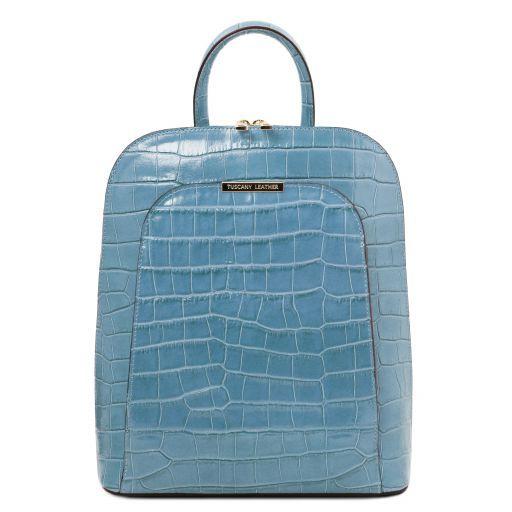 TL Bag Croc print leather backpack for women Azure TL141969