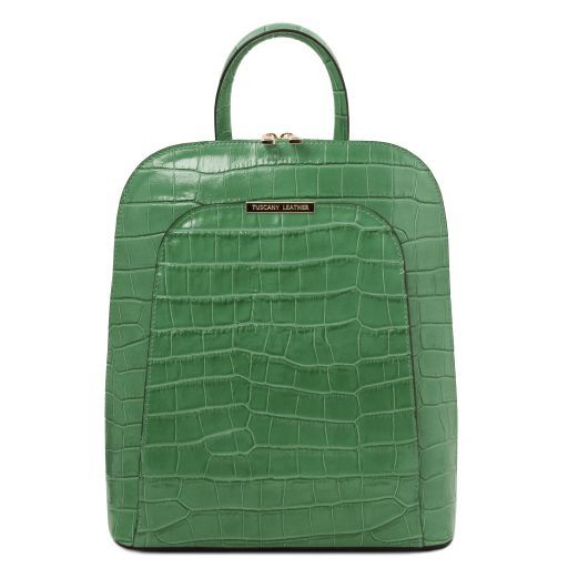 TL Bag Croc print leather backpack for women Green TL141969