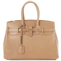 TL Bag Leather handbag with golden hardware Champagne TL141529