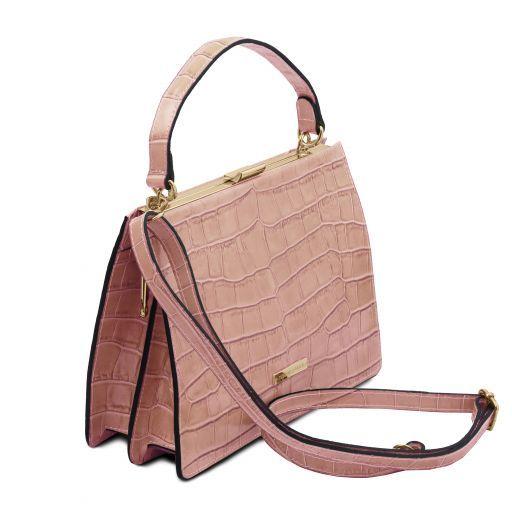 Iris Handtasche aus Leder mit Kroko-Prägung Nude TL141839