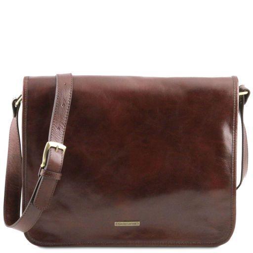 TL Messenger Кожаная сумка на плечо с 2 отделениями - Большой размер Коричневый TL141254