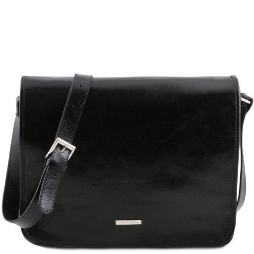 TL Messenger Two compartments leather shoulder bag - Large size Black TL141254