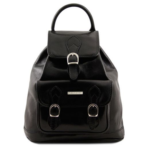Singapore Exklusiver Rucksack aus Leder Schwarz TL9039