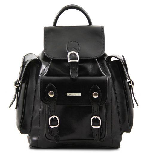Pechino Кожаный рюкзак с просторными карманами Черный TL9052
