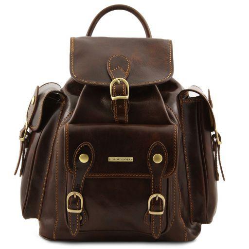 Pechino Кожаный рюкзак с просторными карманами Темно-коричневый TL9052
