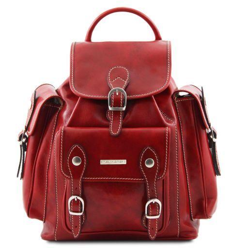 Pechino Sac à dos en cuir Rouge TL9052