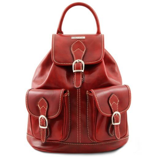 Tokyo Exklusiver Rucksack aus Leder Rot TL9035