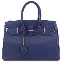TL Bag Leather handbag with golden hardware Dark Blue TL141529