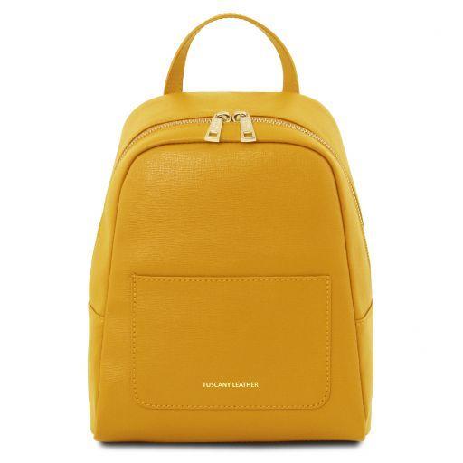 TL Bag Kleiner Damenrucksack aus Saffiano Leder Gelb TL141701