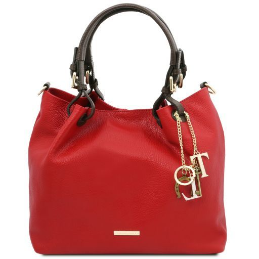 TL KeyLuck Soft leather shopping bag Lipstick Red TL141940