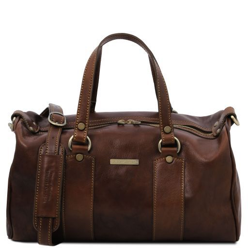 Lucrezia Leather maxi duffle bag Темно-коричневый TL141977