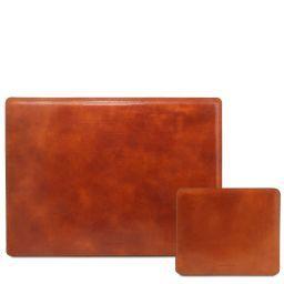 Office Set Sous-mains et tapis de souris en cuir Miel TL141980