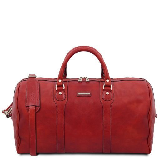 Oslo Travel leather duffle bag - Weekender bag Red TL141913