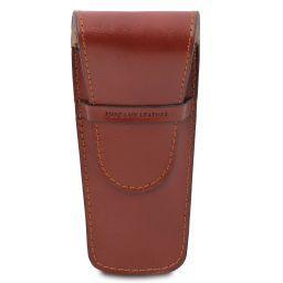 Elégant étui pour 2 stylos/porte montres en cuir Marron TL141273