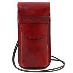Эксклюзивный кожаный футляр для Очков/Смартфона Большой размер Красный TL141321