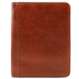 Luigi XIV Leather document case with zip closure Honey TL141287