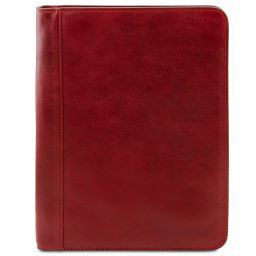 Luigi XIV Leather document case with zip closure Red TL141287