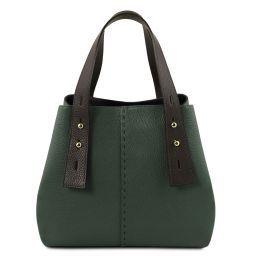 TL Bag Sac shopping en cuir Vert Forêt TL141730