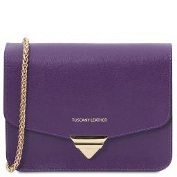 TL Bag Saffiano leather clutch with chain strap Purple TL141954