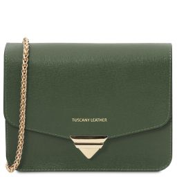 TL Bag Saffiano leather clutch with chain strap Forest Green TL141954
