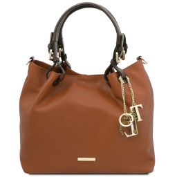 TL KeyLuck Soft leather shopping bag Коньяк TL141940
