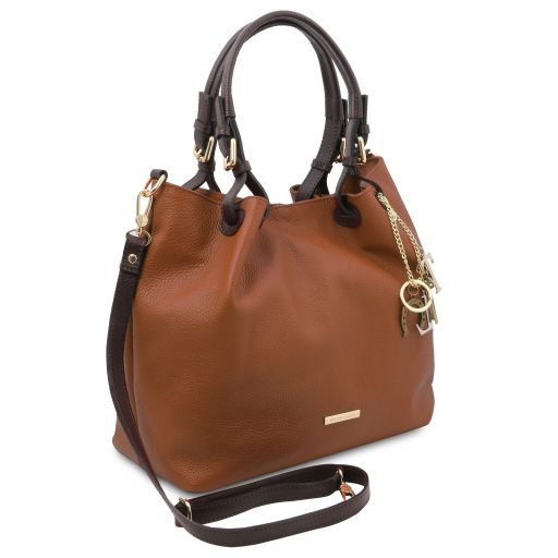 TL KeyLuck Soft leather shopping bag Cognac TL141940