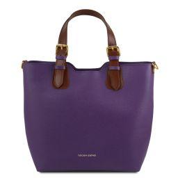 TL Bag Saffiano leather tote Purple TL141696