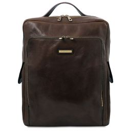 Bangkok Leather laptop backpack - Large size Dark Brown TL141987