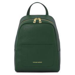 TL Bag Kleiner Damenrucksack aus Saffiano Leder Tannengrün TL141701