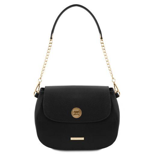 Fresia Leather shoulder bag Black TL141956