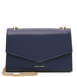 Fortuna Leather clutch with chain strap Темно-синий TL141944