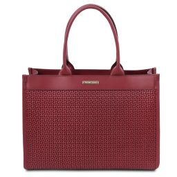TL Bag Woven printed leather shopping bag Red TL141724