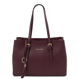 TL Bag Leather shoulder bag Bordeaux TL142037
