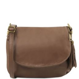 TL Bag Soft leather shoulder bag with tassel detail Dark Taupe TL141223