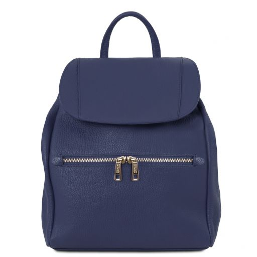 TL Bag Sac à dos pour femme en cuir souple Bleu foncé TL141697
