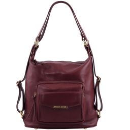 TL Bag Leather convertible bag Bordeaux TL141535