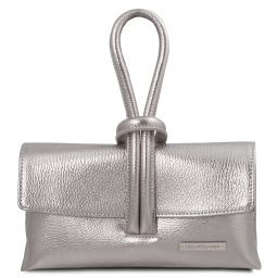 TL Bag Pochette in pelle metallic Argento TL141993