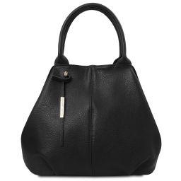 TL Bag Shopping Tasche aus weichem Leder Schwarz TL142005