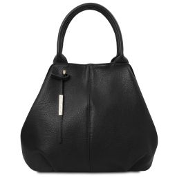 TL Bag Soft leather tote Black TL142005